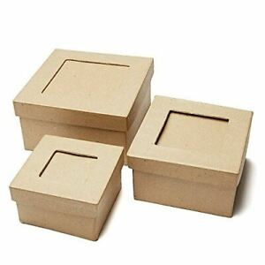Handcrafted Paper Mache Picture Frame Square Boxes - 3 Boxes