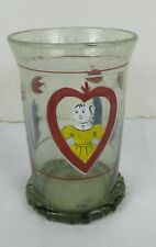 Antique 1800's Hand Painted Juice Glass Hand Blown Applied Base rim Very RARE