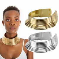 US Vintage African Jewelry Necklace Metallic Coil Adjustable Choker Maxi Collar