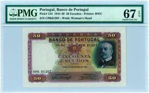 PMG 67 Portugal 1941-1949 Banknote 50 Escudos EPQ