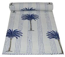 Indian Palm Tree Kantha Quilt Throw Reversible Bedspread White Handmade Bedding