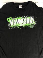 Kawasaki Race Moto Racing Long Sleeve Shirt Black Green Sz 2XL Motorcycle