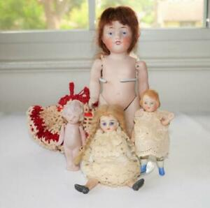 """4 ANTIQUE GERMAN ALL BISQUE DOLLS DOLL HOUSE SIZE 3"""" TO 6 1/2"""""""