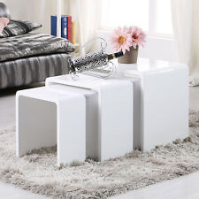Nest of 3 Tables High Gloss White Seamless Coffee Table Living Room Furniture