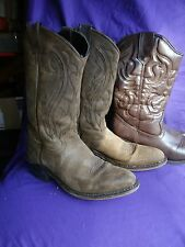 womens brown cowboy western boots leather 6.5 US and extra bonus pair