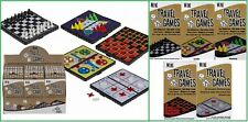 5 Mini Magnet Reisespiele Schach Ludo Dame Halma Drei gewinnt Tic Tac Toe