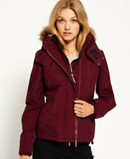 New Womens Superdry Hooded Fur Sherpa Wind Attacker Jacket Plum Berry