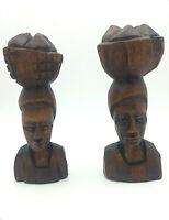 coppia di busti statuine sculture vintage artigianali in legno esotico