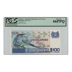 *jcr_m* SINGAPORE $100 100 DOLLARS 1977 P.14 PCGS 66 *UNCIRCULATED*