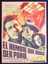 EL HOMBRE QUE QUISO SER POBRE MEXICAN MOVIE POSTER Carmelita Gonzalez 1956