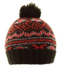 Mens Unisex Bobble Pom Pom Chunky Beanie Cap Warm Winter Knit Wool Ski Hat New
