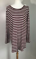 Old Navy Sz 4X Red Striped Top Long Sleeve Sweater Rayon NWT Womens Plus Size