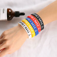 5pc Medical Alert Caduceus Men Women Silicone Band Bracelet Cuff TYPE 2 DIABETES