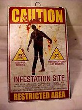 Zombie Warning SIGN -- TIN METAL --- CAUTION KEEP OUT ZOMBIES INFESTED SITE ----