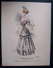 gravure ancienne mode couleur L'ART ET LA MODE XXV N° 53 - LUCY