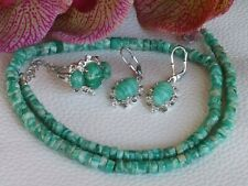 Green Amazonite Bead Necklace, Earrings & Ring Set!!  Size 6 Silver UNTREATED