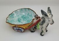 Vintage Ceramic Donkey Planter Italy Hand Painted Donkey And Cart Planter