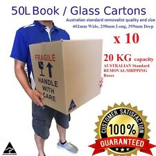 10 x 50Litre Moving Boxes 402mm W, 298mm L 399mm D Book/wine Removalist Box