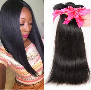 4bundles 100% Brazilian Virgin Hair Straight Human Hair Extensions Weave 200g
