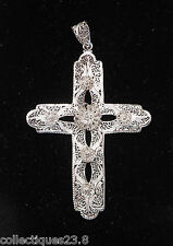 "Van Lou Art Nouveau Open Filigree Cross 4"" In Length"