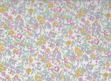 White / Lilac / Lemon Floral Polycotton Fabric