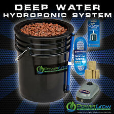 "Deep Water Culture Hydroponic DWC System 10"" 5 Gallon Bucket Kit PowerGrow"