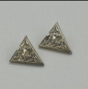 Vintage Sterling Silver Hand Engraved Collar Tips Floral Adjustable Southwestern