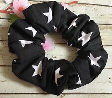 Black white stars cotton fabric hair scrunchie ponytail bun band stretch elastic