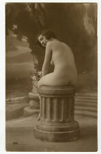 1910's Vintage Sexy French NUDE SEATED CUTIE naked rear backside photo postcard