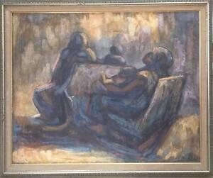 Original Painting on canvas listed Artist Aurelio Pescina Figuras Sentadas