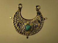 Antique Islamic Abbasid Dynasty 21K Gold Koran Prayer Turquoise Locket Pendant