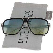 Designer Oversized Square Aviator Sunglasses Metal Bar Retro Frame Men Fashion