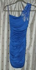 Jane Norman ~ Blue, Embellished One Shoulder Party / Prom Dress ~ Size 6 ~ NWT