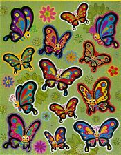 Large cute happy butterflies with flowers 19 laser stickers.