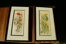 Pair of 1970s floral collographs by Rocky Neck Gloucester artist Irene Wisnewski