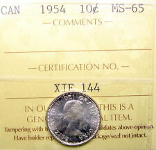 1954 Ten Cents ICCS Graded MS-65 GEM ** SCARCE Low Mintage KEY QEII Canada Dime