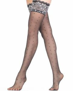 Shimmery Metallic Patterned Hold Up Stockings Favorita 20 Denier Stay Up Nylons