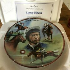 RACEHORSE PLATE JOCKEY LESTER PIGGOTT DANBURY MINT ROYAL WORCESTER CERT & BOX