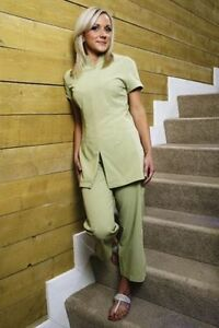 Salon / Spa / Hairdressing 3/4 Length Cropped Trousers in Sage Green - All sizes
