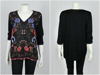 Womens Desigual Blouse Shirt 3/4 Sleeve V-Neck Floral Black Size XXL