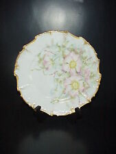 Bawo & Dotter Elite Limoges France Cabinet Collector's Plate Pink Flowers