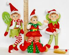 Set of 3 JOLLY HOLLY Soft Fabric Posable ELF Doll CHRISTMAS TREE ORNAMENT NEW