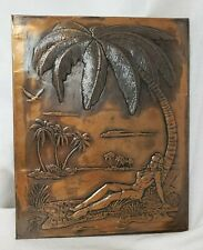 New listing Vintage 1950s Hawaiian Copper Metal Sheet Tiki Bar Art Picture Hula Girl Hawaii