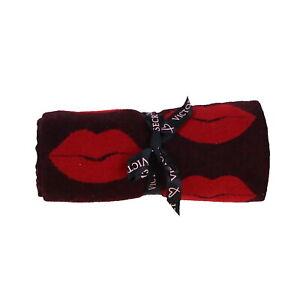 Victoria's Secret Throw Blanket Red Black Lips Lounge Bed Cozy Fringe Victorias