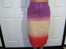 Girls Youth Long Jean Skirt Revolt Jeans Co. Purple Peach Pink Size 8