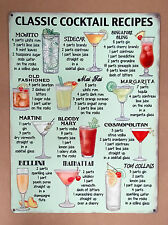 Classic Cocktail Recipes - Tin Metal Wall Sign