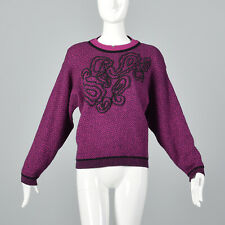 2XL 1980s Fuchsia Black Sweater Long Sleeves Pull Over Wool Separates Comfy 80s