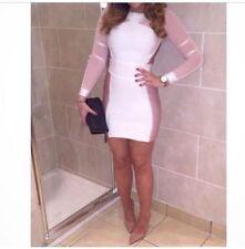 NWT House of CB Celeb Boutique Lourdes Forever Pink White Unique Bandage Dress M
