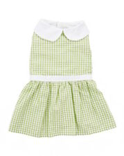 NWT FAB DOG PUPPY Female SUNDRESS SIZE SMALL GREEN & GINGHAM PATTERN ADORABLE