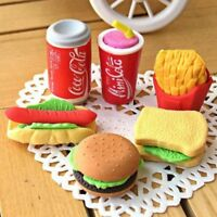 New Fashion Creative Burger Rubber Pencil Eraser Kid Stationery Gift